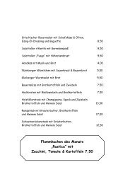mit Zucchini, Tomate & Kartoffeln 7,50 - Burg Gleiberg