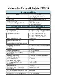 Jahresplan für das Schuljahr 2012/13