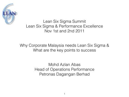 Lean Six Sigma Summit Lean Six Sigma ... - Lean Applied