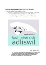 Was suchen wir? - Badminton Club Adliswil