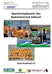 Sponsoringdossier 2009 - Badminton Club Adliswil