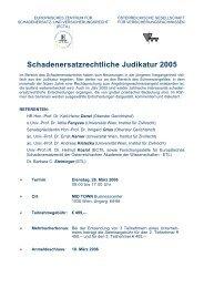 Schadenersatzrechtliche Judikatur 2005 - Gesellschaft für ...