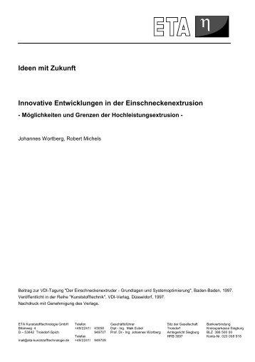 Ideen mit Zukunft Innovative Entwicklungen in der - ETA ...