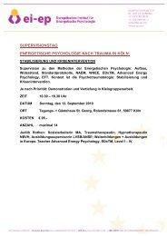 supervisionstag energetische psychologie nach trauma in ... - Rothen