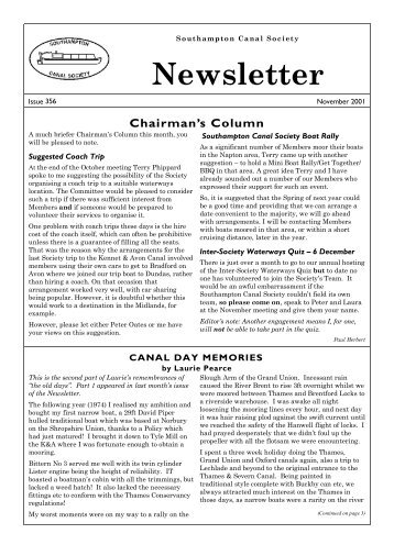 Southampton Canal Society Newsletter