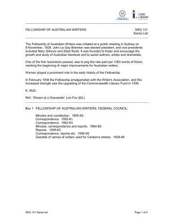 FELLOWSHIP OF AUSTRALIAN WRITERS SRG 131 Series List Th