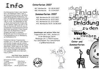 einladung werkwochen Oster Sommer 2007 - Aachener Kinder