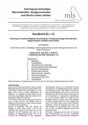 Rundbrief 1/2012 - Ehemalige der Martin-Luther-Schule