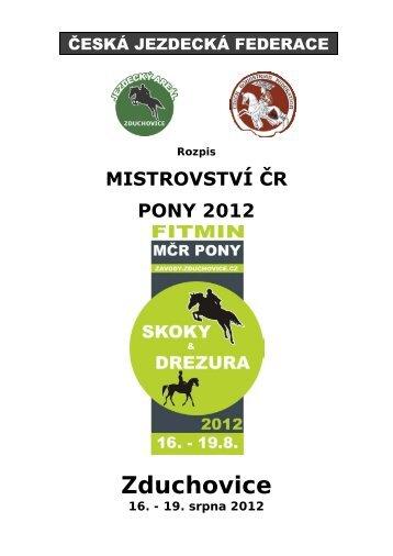 Rozpis MČR Pony S+D 2012 - Pony komise ČJF