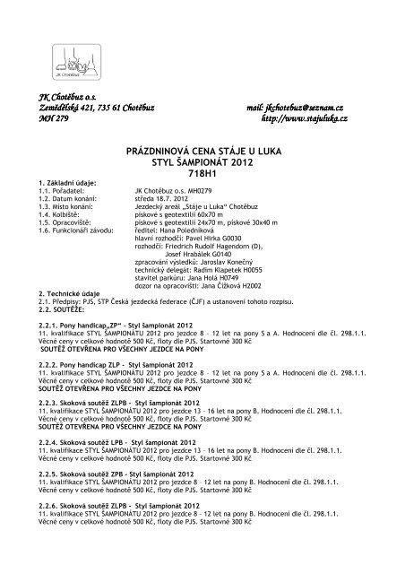 rozpis - Pony komise ČJF