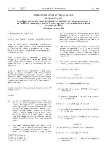 Regulamentul (CE) nr. 1177/2009 al Comisiei din 30 ... - cnmsi