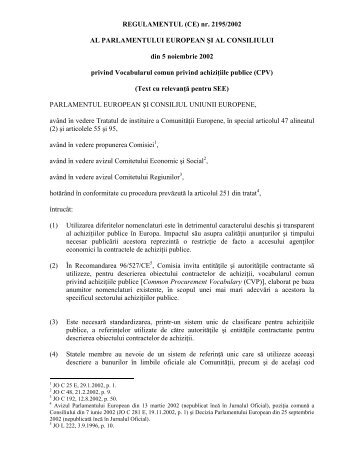 REGULAMENTUL (CE) nr. 2195/2002 AL ... - cnmsi