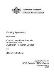 Funding Agreement regarding funding for ARC Centres of Excellence