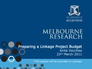 Preparing a Linkage Project Budget - Melbourne Research Office