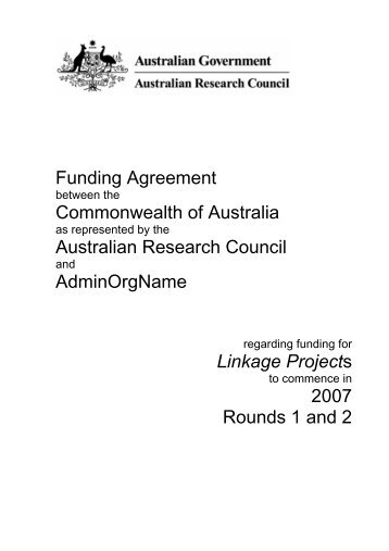 Funding Agreement between the Commonwealth of Australia as ...