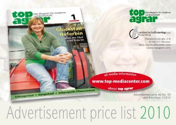 Advertisement price list 2010 - top agrar Mediacenter