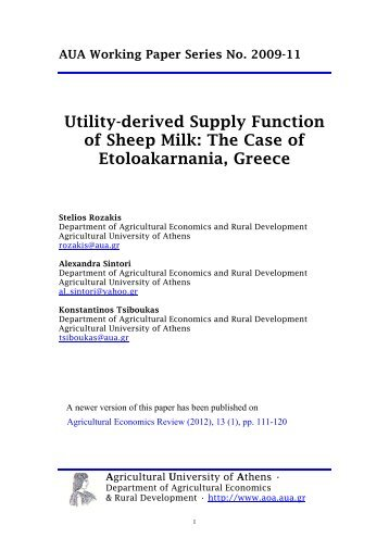 Utility-derived Supply Function of Sheep Milk: The Case of ...