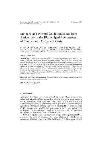 Methane and Nitrous Oxide Emissions from Agriculture in the EU: A ...