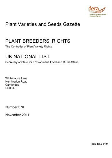 PLANT VARIETIES AND SEEDS GAZETTE ADDENDUM