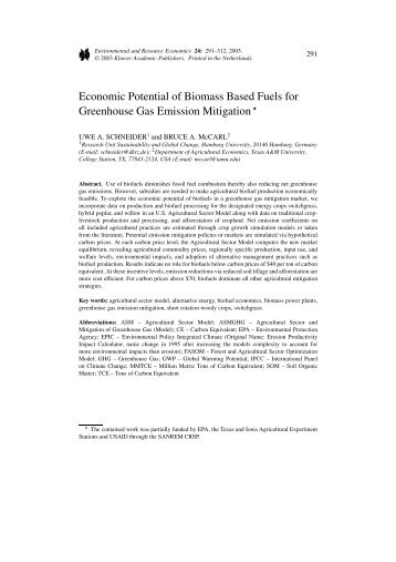 Economic Potential of Biomass Based Fuels for Greenhouse Gas ...