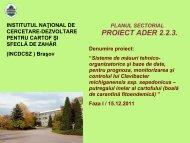 etapa 1 - Institutul National de Cercetare Dezvoltare pentru Cartof si ...