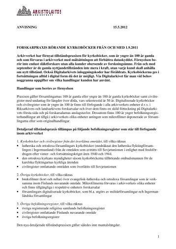 Forskarpraxis rörande kyrkoböcker från och med 1.9.2011