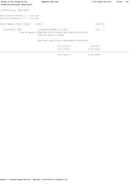 Estado do Rio Grande do Sul Empenhos Emitidos 7 de Outubro de ...