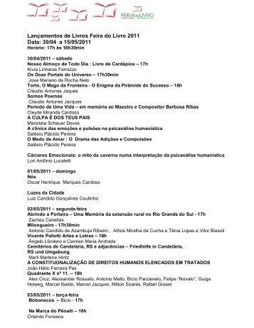 Lançamentos da Feira do Livro 2011 - Prefeitura Municipal de Santa ...