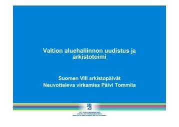 Valtion aluehallinnon uudistus ja arkistotoimi - Arkistolaitos