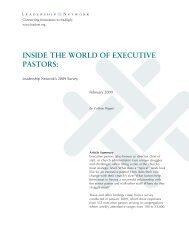 Inside the World of Executive Pastors.qxp - Leadership Network
