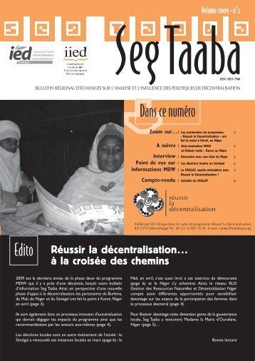 Seg Taaba - Volume 2009 - n°2- Réussir la ... - IED afrique