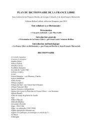 plan de l'ouvrage - Fondation de la France Libre
