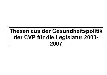 I. Prinzip der CVP zur Krankenversicherung