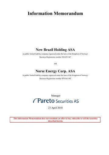 preliminary merger information memorandum 23 panoro energy