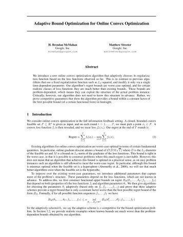 Adaptive Bound Optimization for Online Convex ... - COLT 2010
