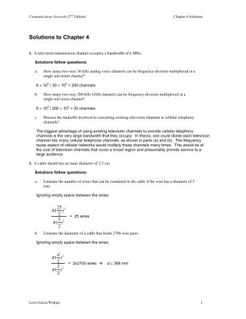 Solutions to Chapter 4 - Communication Networks