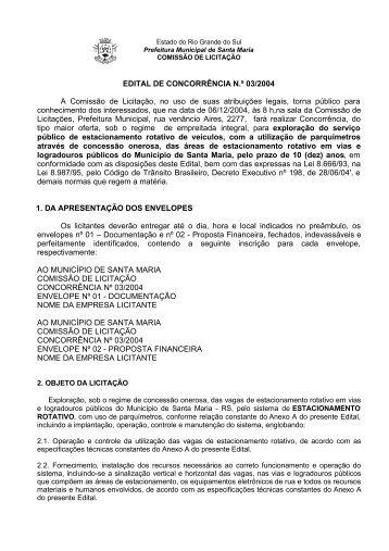 edital de concorrência n.º - Prefeitura Municipal de Santa Maria