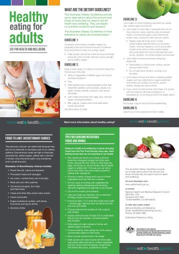 Healthy eating for adults - Brochure - Eat For Health