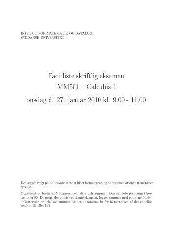 Facitliste - Institut for Matematik og Datalogi - Syddansk Universitet