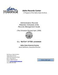 Administrative Records Retention Schedule - Idaho State Historical ...