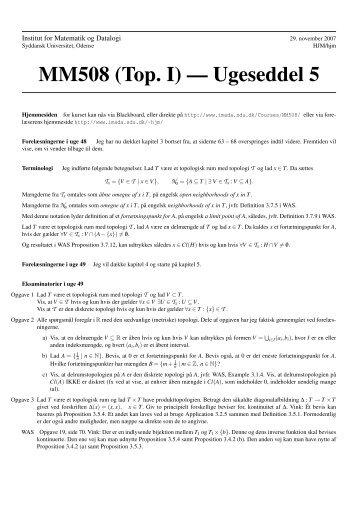 5 - Institut for Matematik og Datalogi - Syddansk Universitet