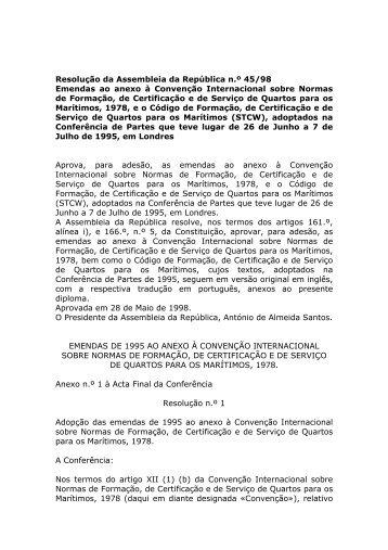 Emendas ao anexo à Convenção Internacional sobre Normas de ...