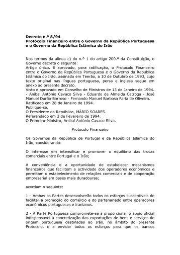 Protocolo Financeiro entre o Governo da República Portuguesa e o ...