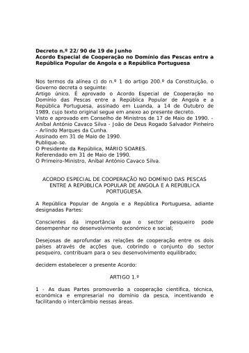 Acordo Especial de Cooperação no Domínio das Pescas entre a ...