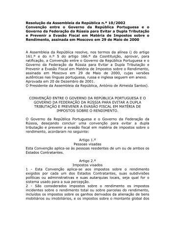 Convenção entre o Governo da República Portuguesa e o Governo ...