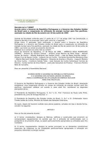 Acordo entre o Governo da República Portuguesa e o Governo dos ...
