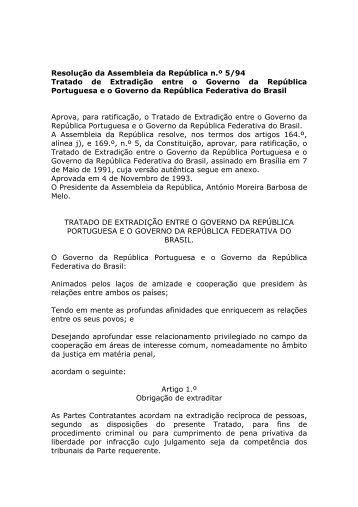 Tratado de Extradição entre o Governo da República Portuguesa eo ...