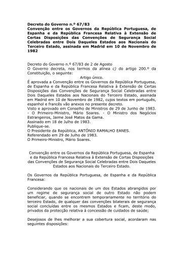 Convenção entre os Governos da República Portuguesa, de ...