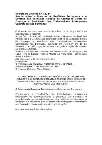 Acordo entre o Governo da República Portuguesa e o Governo das ...