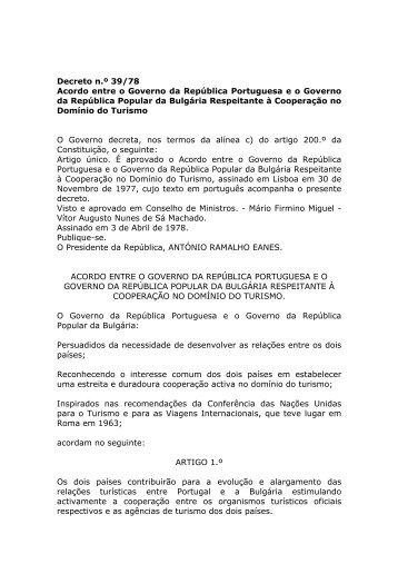 Acordo entre o Governo da República Portuguesa e o Governo da ...
